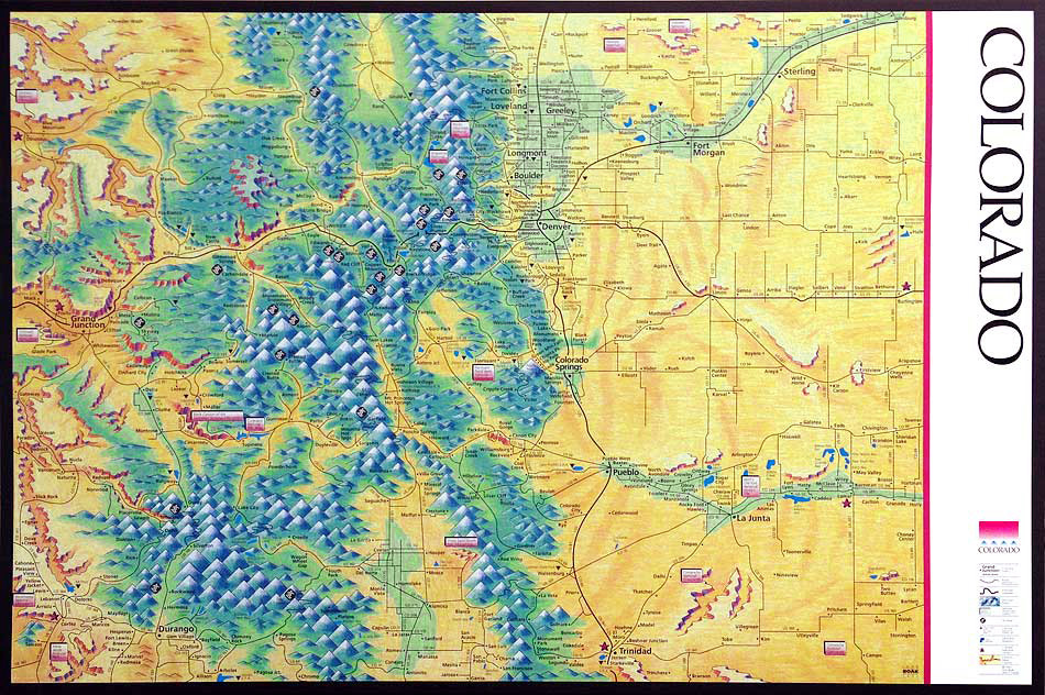 Boakart Design Colorado Map Poster - Map of colo